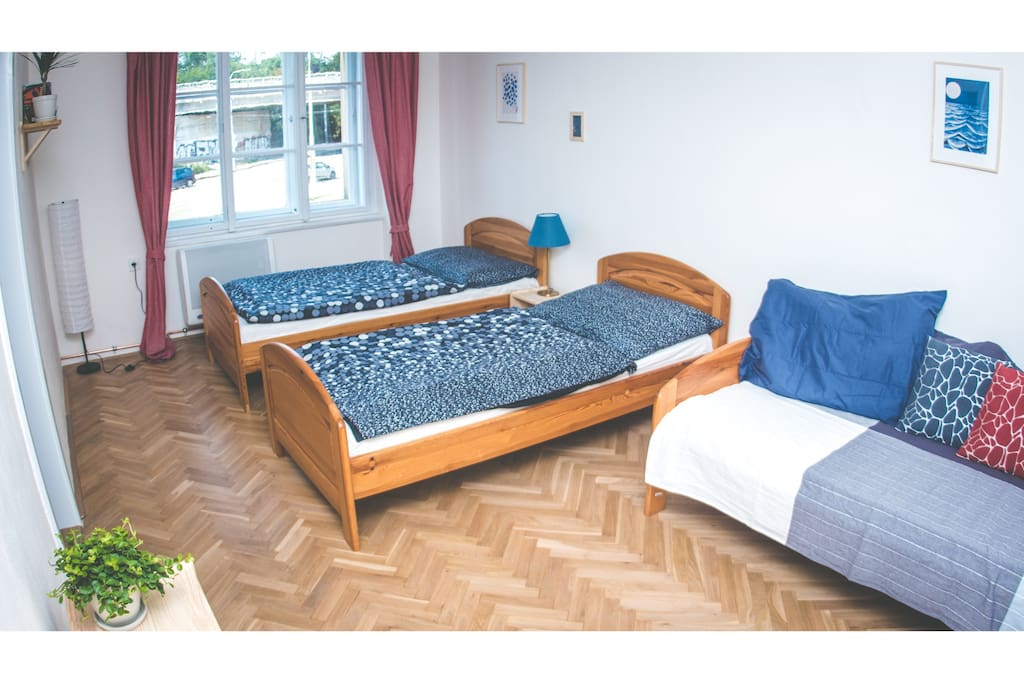 Comfy beds in three bedrooms.