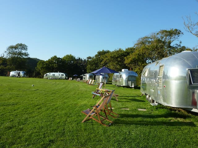 Family glamping in a vintage Airstream