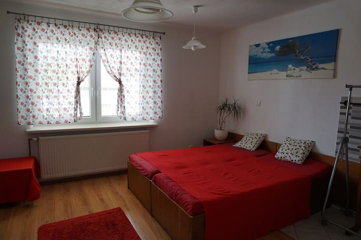 4-bed appartment in family house with garden
