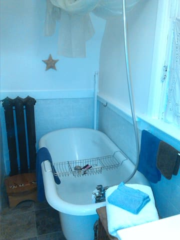old tub perfect for a nice soak  (or a shower with the curtains down)