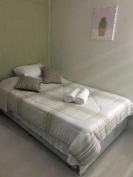 Double bed provided with fresh bedding. The bed is also a pull out bed providing extra space for sleeping.