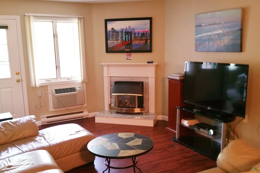 """Living Room with Gas Fireplace, Air Conditioning and 50"""" LED TV"""