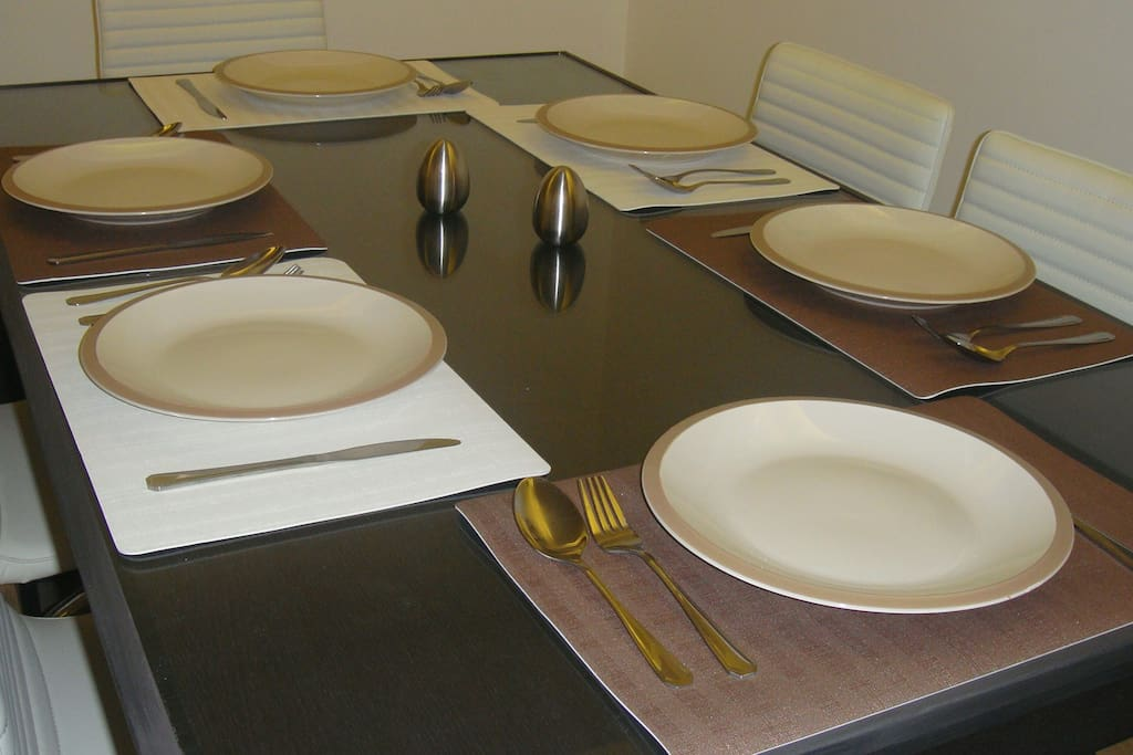 All cutlery crockery of nice quality. Pots pans and dishes complete the kitchen.