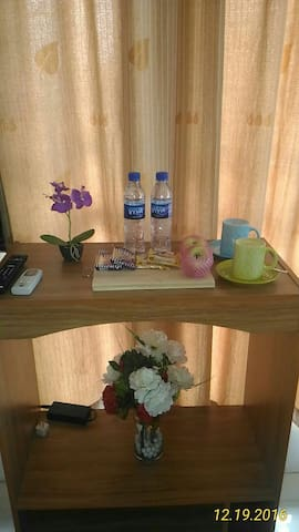 Furnished aircon room with fast wifi & safe place.