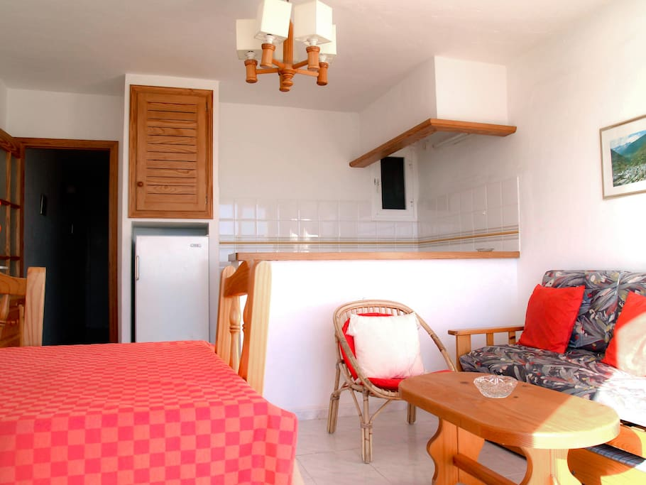 The livingroom with open kitchen and sofa that can be changed in to a bed for 2 extra persons.