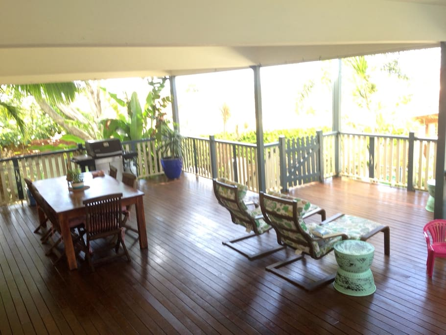 Shady deck with ocean views