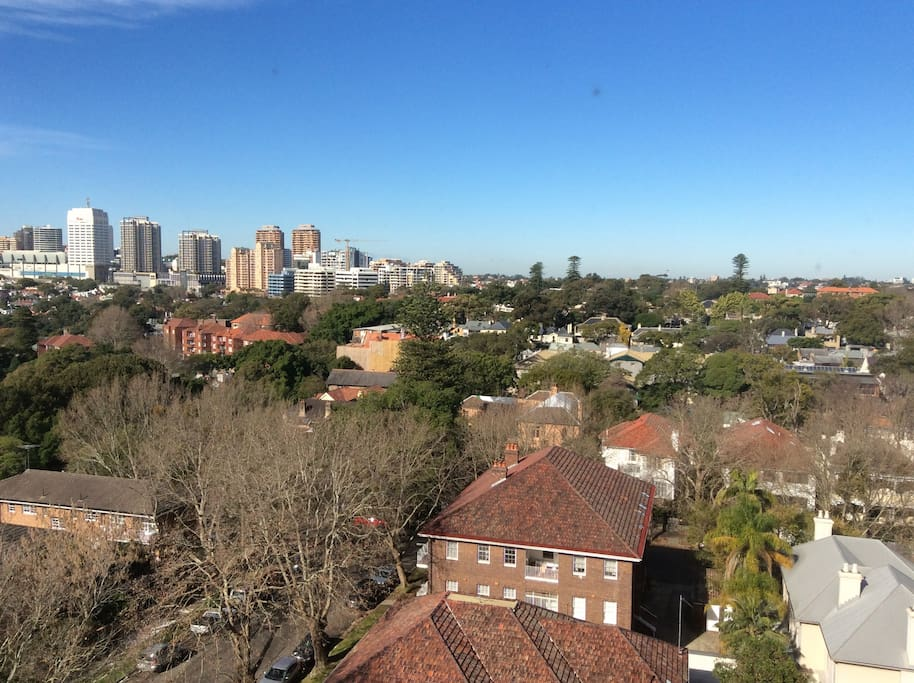 View of Bondi Junction from bedroom window.