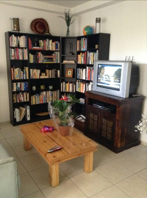 Living Room view 2: Cable TV, and a complete library of books for your enjoyment!