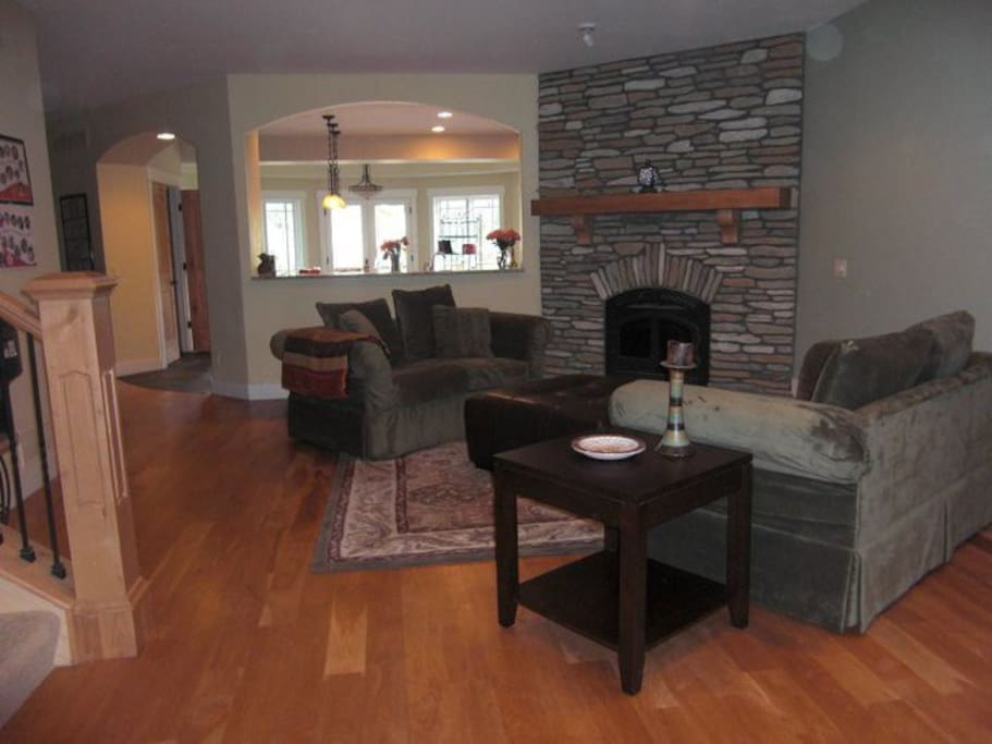 Lving room with wood burning fireplace