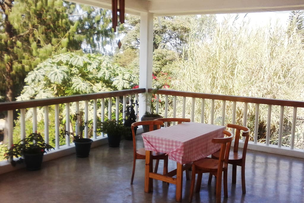 Outside on the veranda, you have a great view, fresh air and a place to gather your thoughts.
