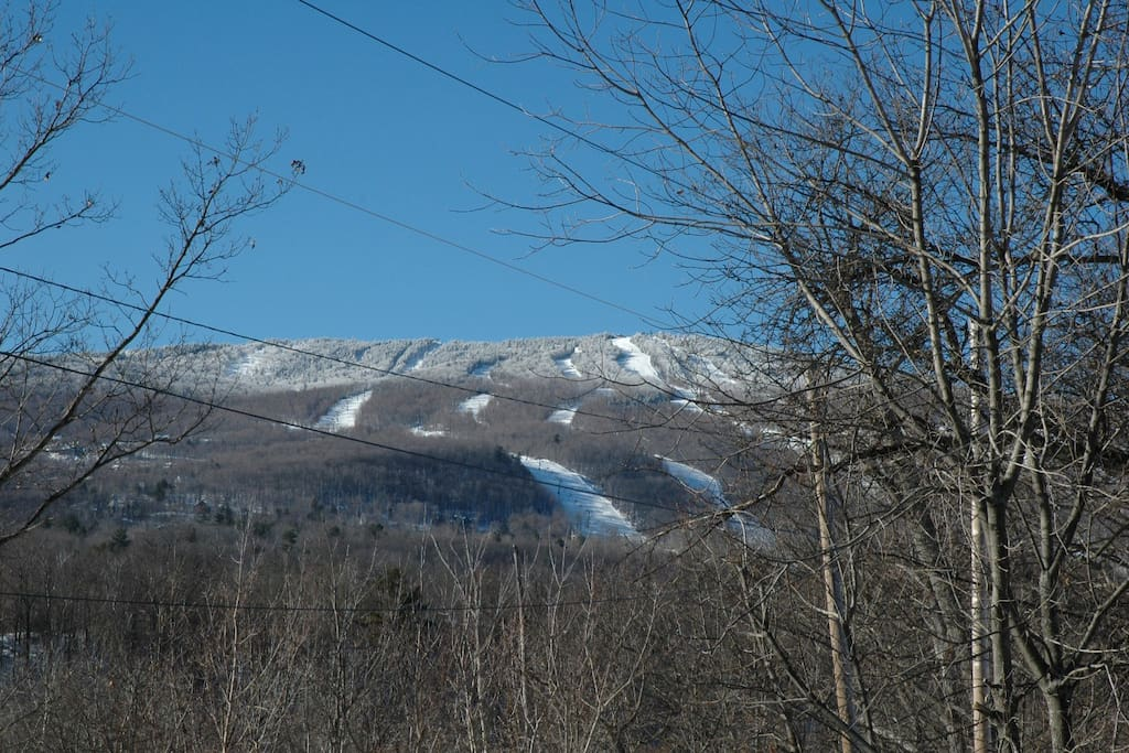 This is the view of Okemo mountain from the front steps of the house.
