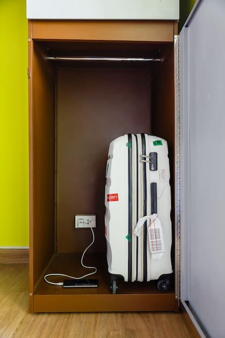 Large locker with power socket