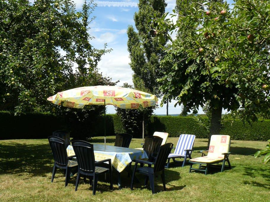 jardin arboré - salon de jardin - barbecue