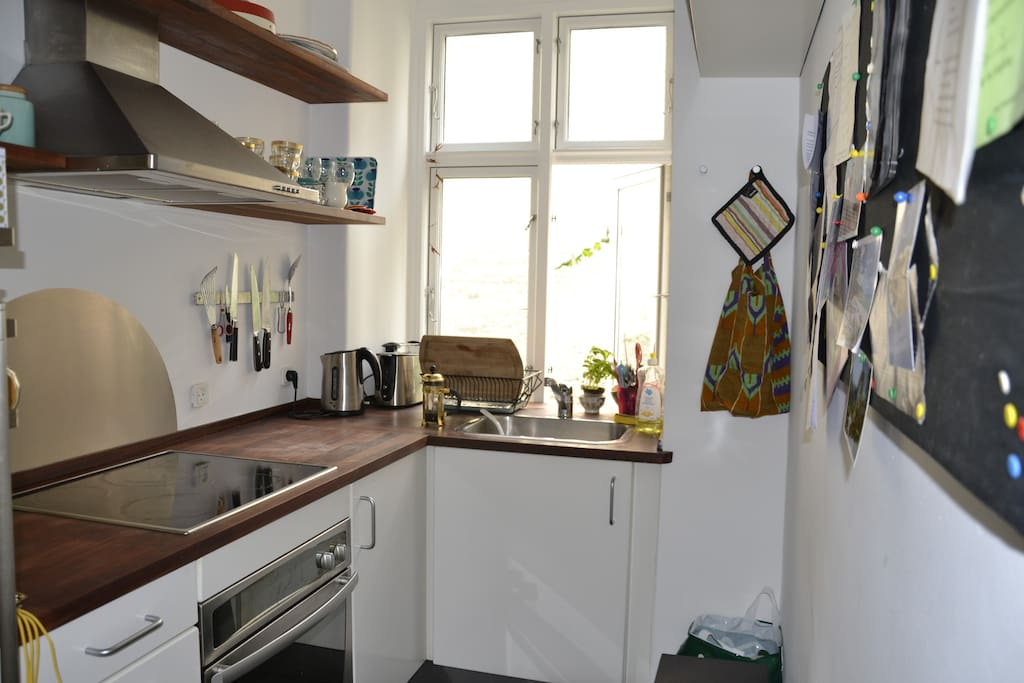 Small kitchen with oven/fridge