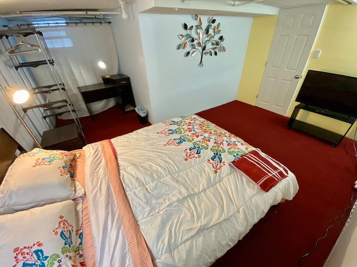 Queen bedroom on lower level. 15 min from downtown