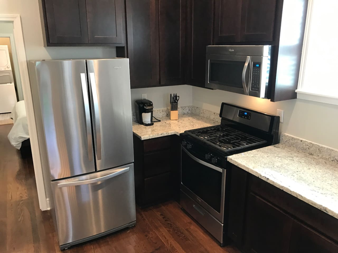 Full kitchen with everything needed from a quick weekend stay, to two weeks!