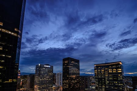 Highrise with view of city and mtns - Denver