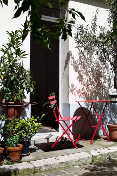 La cour ensolleillée / The sunny courtyard!