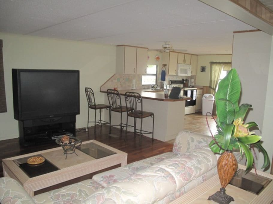 spacious living area and open kitchen