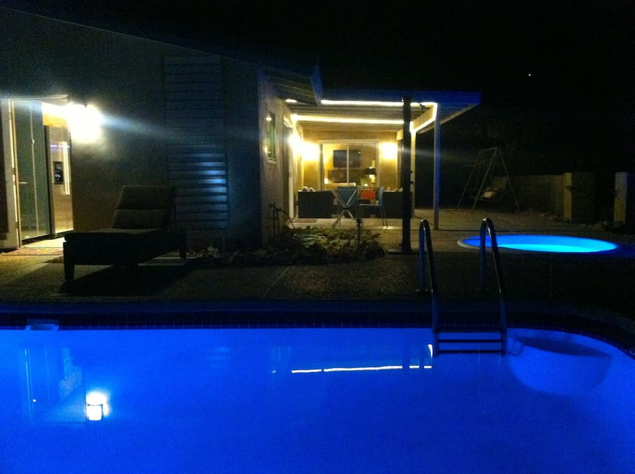 At night, let the color changing pool and spa lights enhance the ambiance
