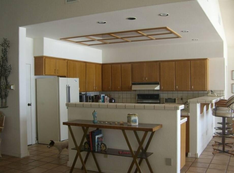 Kitchen overlooks Pacific Ocean