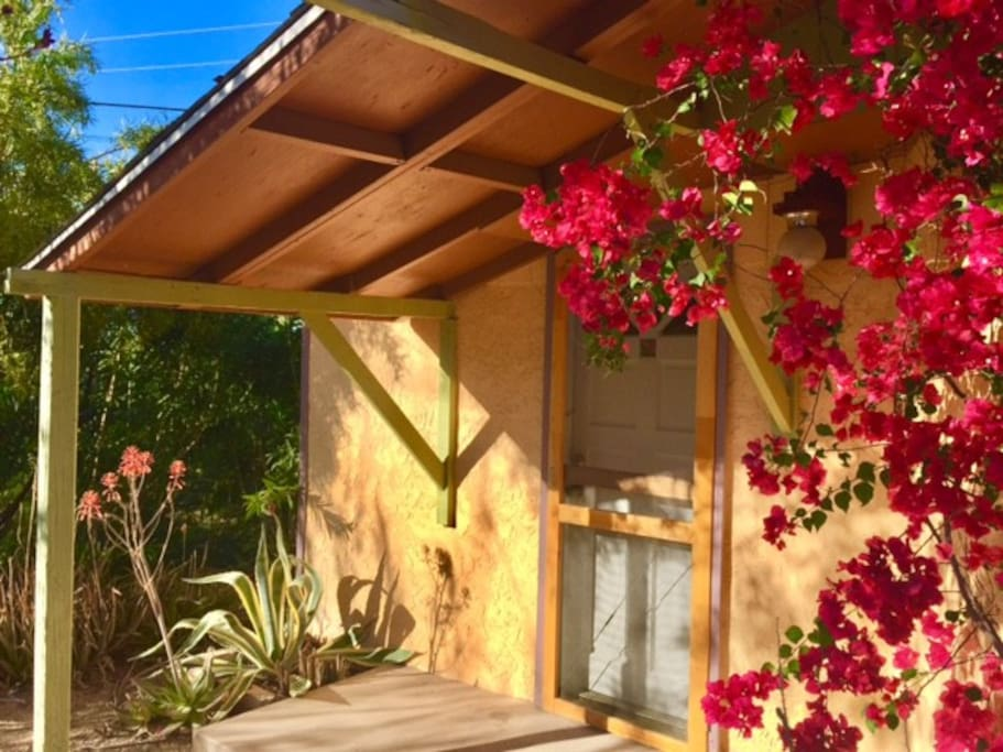 The casita is nestled in the backyard of owner's house.