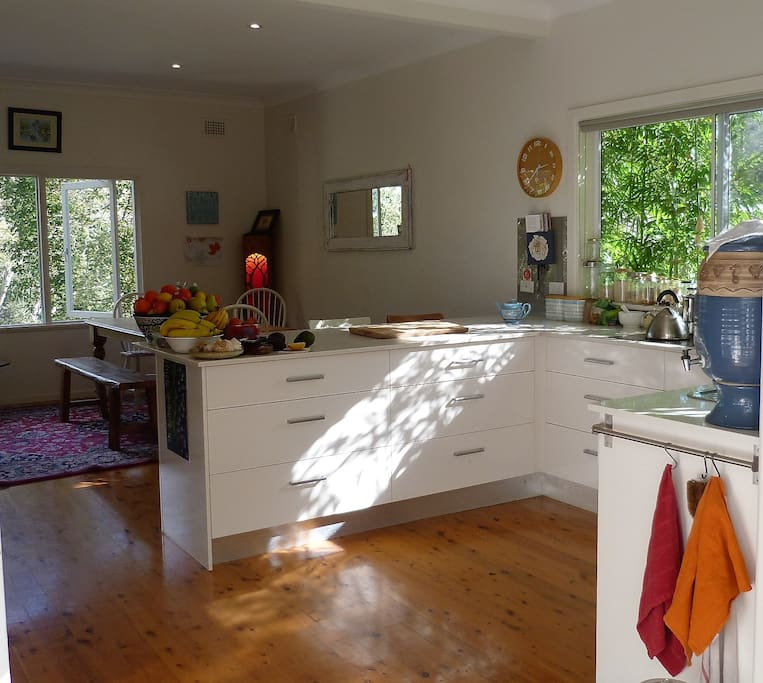 Family Kitchen with dishwasher, double sink, french fridge, oven and microwave