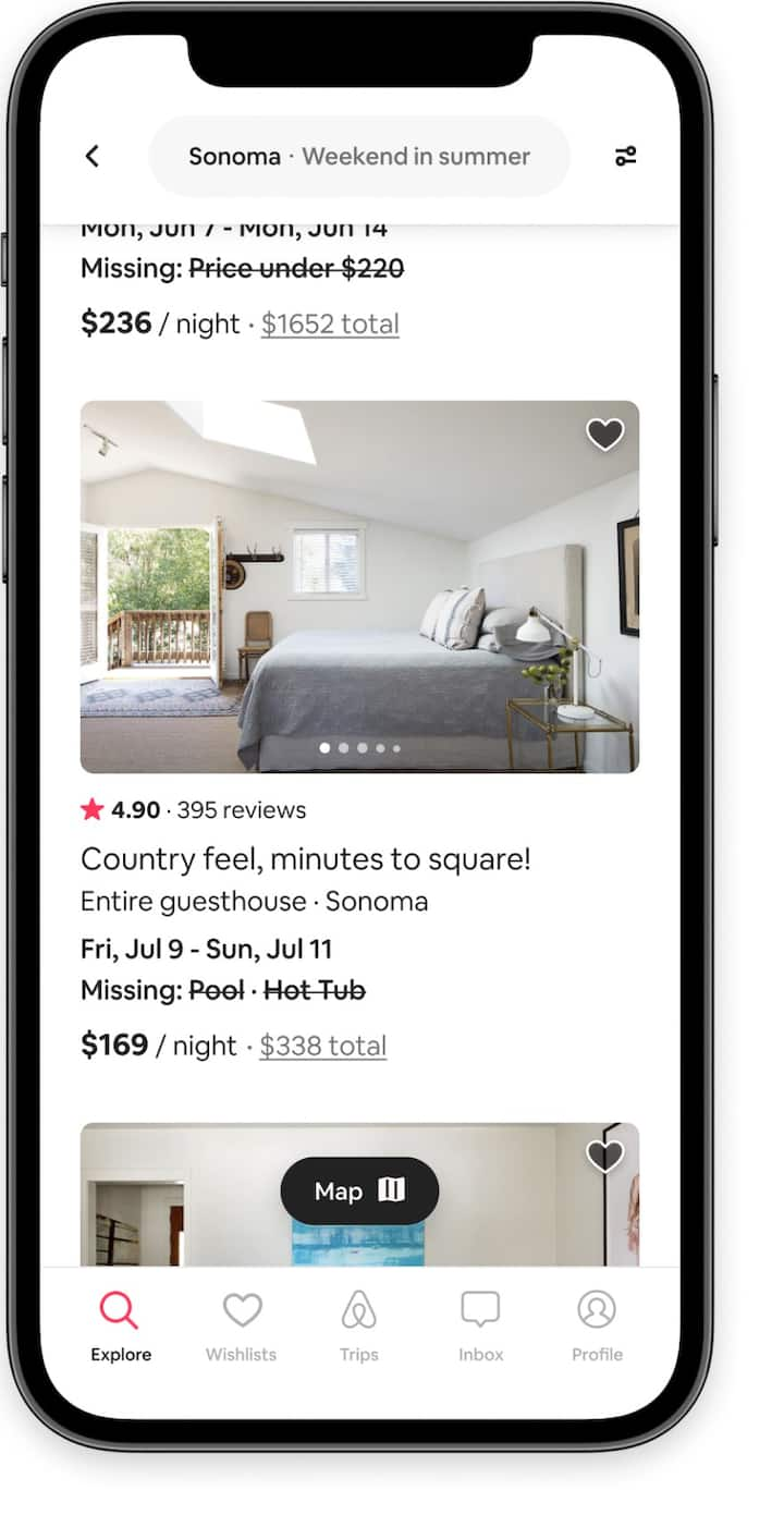 Listings of stays that have one or two missing search filters in the Airbnb app.