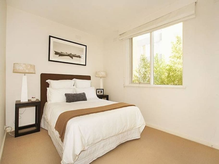 enjoy the comfortable Queen bed in each of the two bedrooms