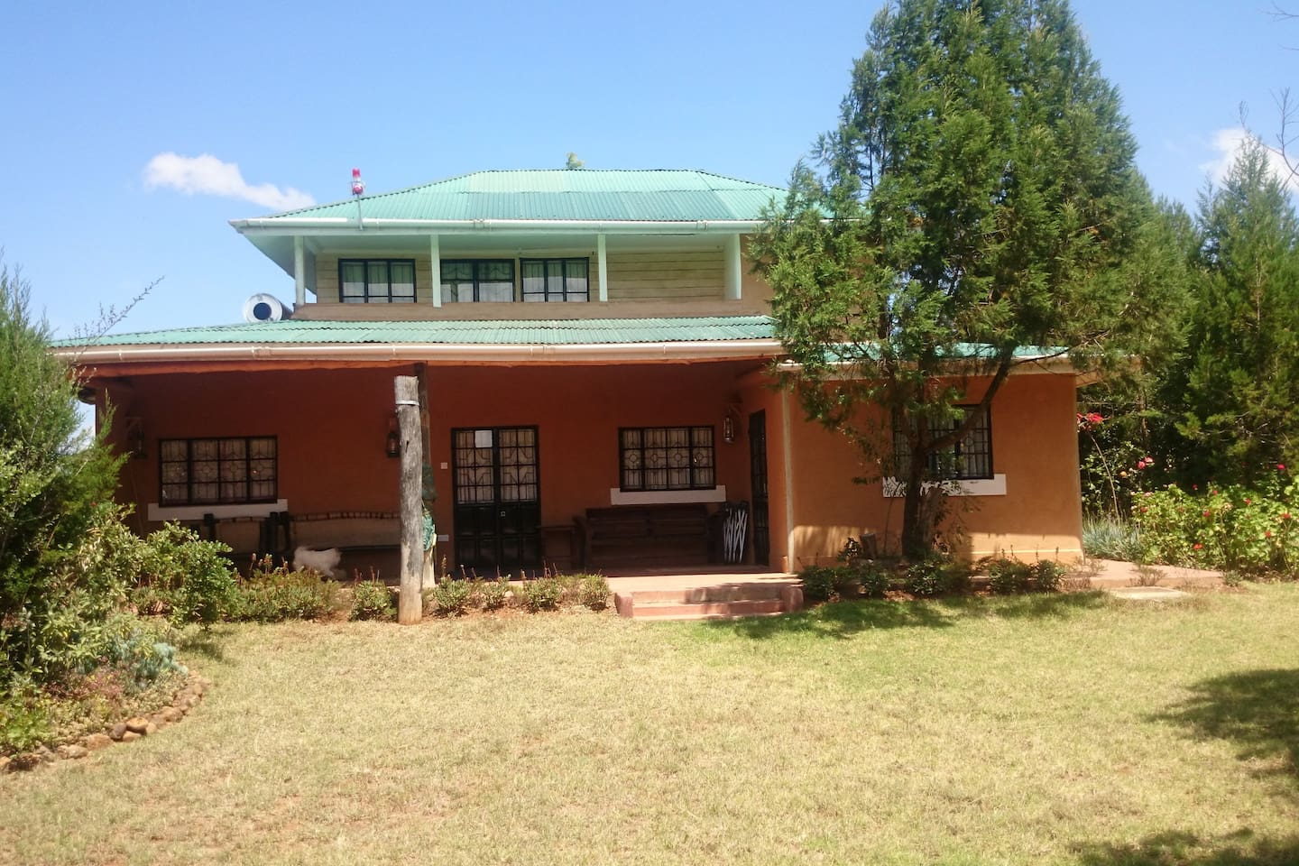 Back terrace with a breathtaking view of Mt. Kenya