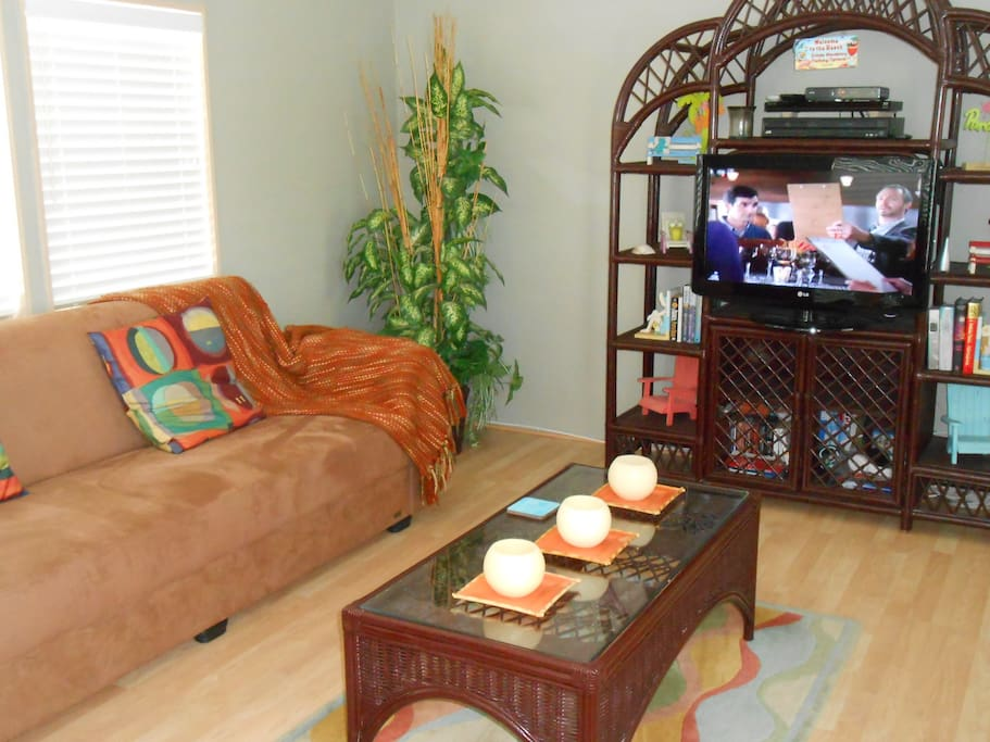 Living room with television and cable