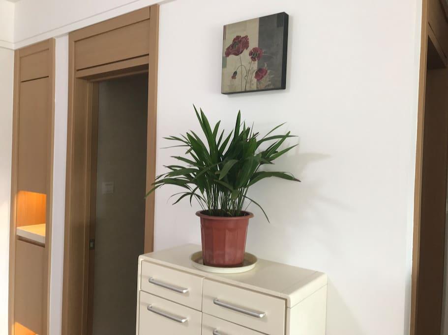 油画、植物和鞋柜