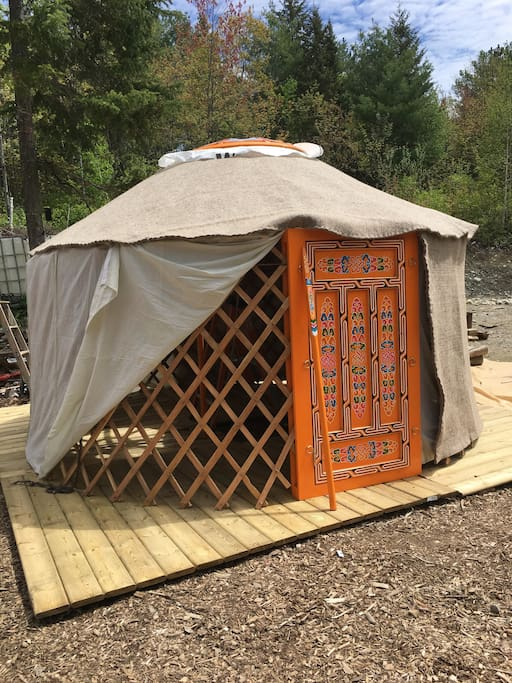 the layers of the yurt, all natural and hand made