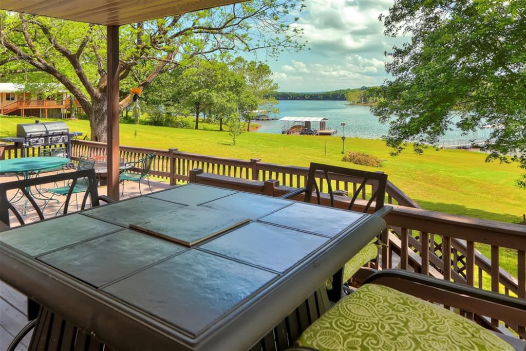 Unwind on the deck and take in the soothing lake views