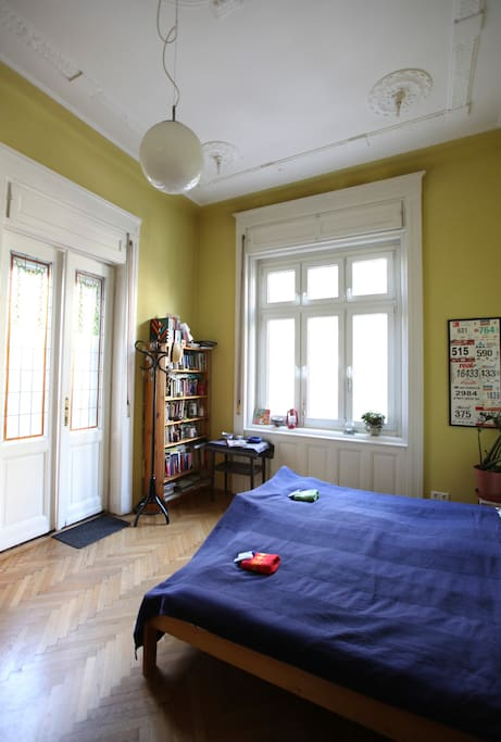 the guest room with a door to the terrace