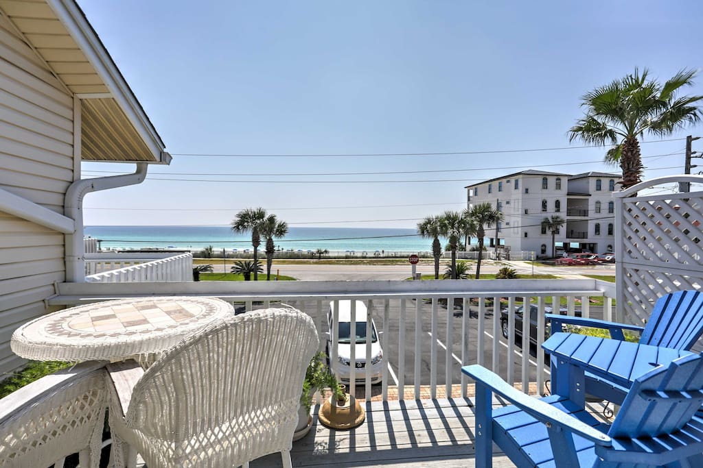 The property is located on Scenic Gulf Drive, with a stunning view of the Gulf of Mexico from the balcony!
