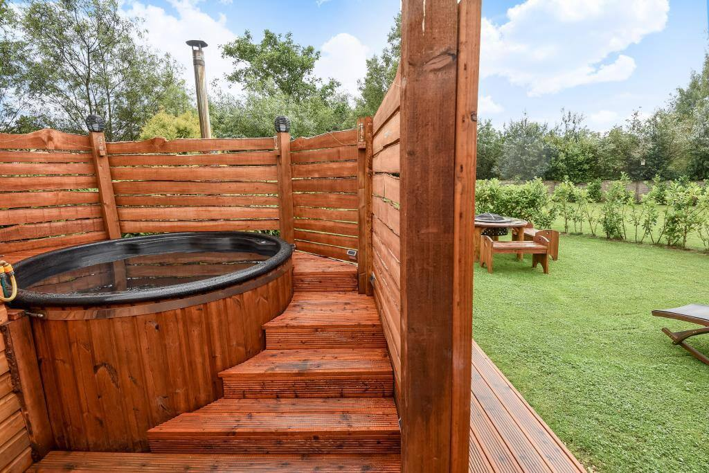 Our natural wood fired hot tub with dead sea salt and essential oils. No chemicals. Bliss !!