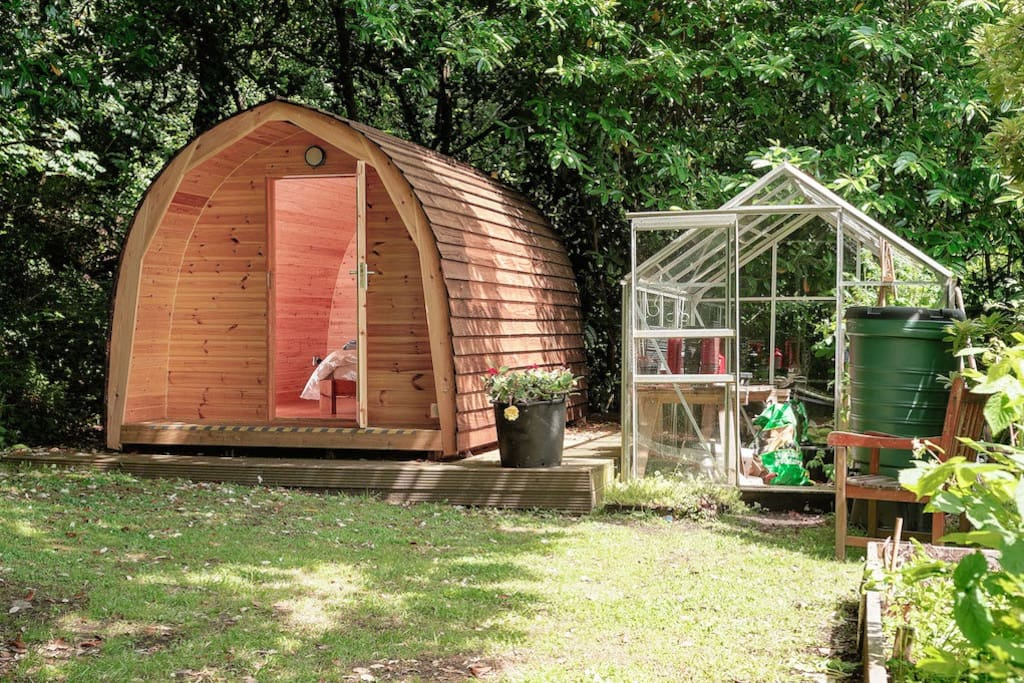 eco pod with double bed, vegetables available in season