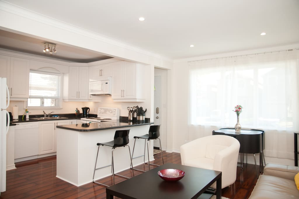 Open plan, large, sparkling clean living and kitchen area