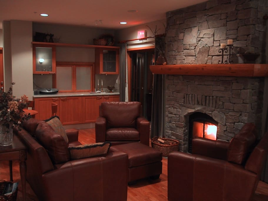 Warm central fireplace hearth lounge