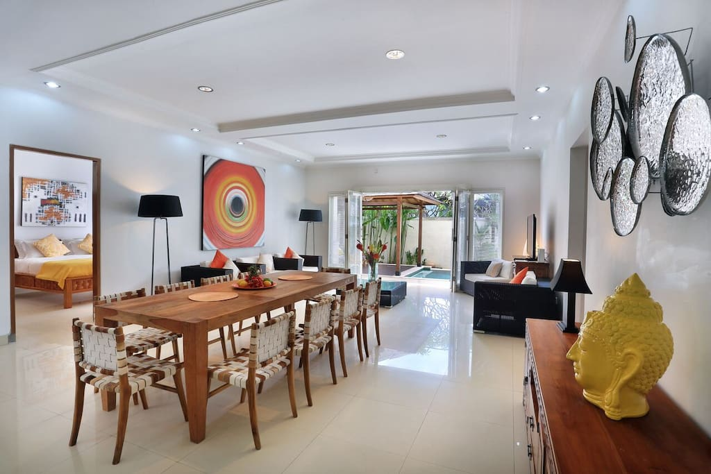 Spacious dining and living area for extended families