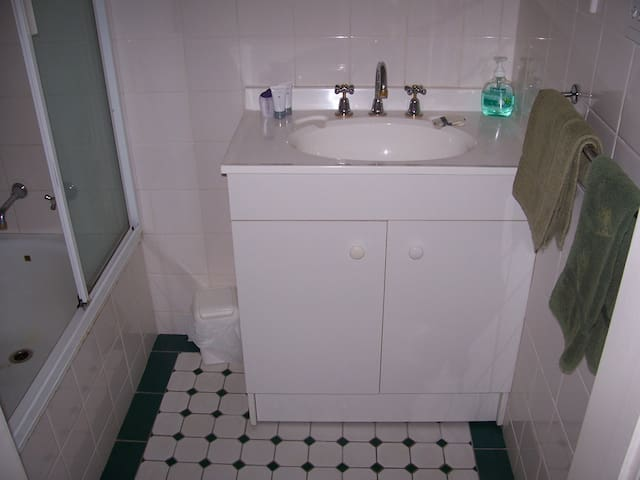 Second bathroom with shower over bath and vanity. Second WC is separate.