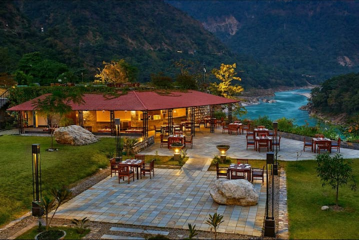 Lovely landscapes and outdoor restaurant.