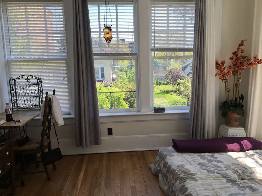 Your Bedroom, Double bed. East viewOff the living room. Three walls of windows, very sunny!