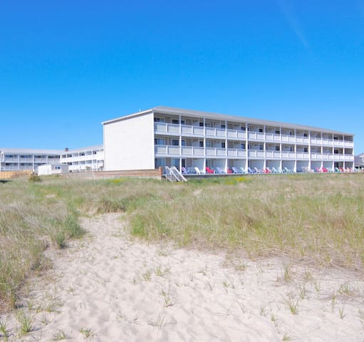 View of the building from the beach entrance.