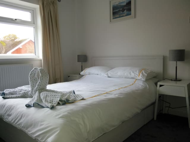 Large double room in friendly family home.