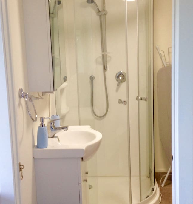 Bathroom; handbasin, mirror-cabinet and shower cubicle