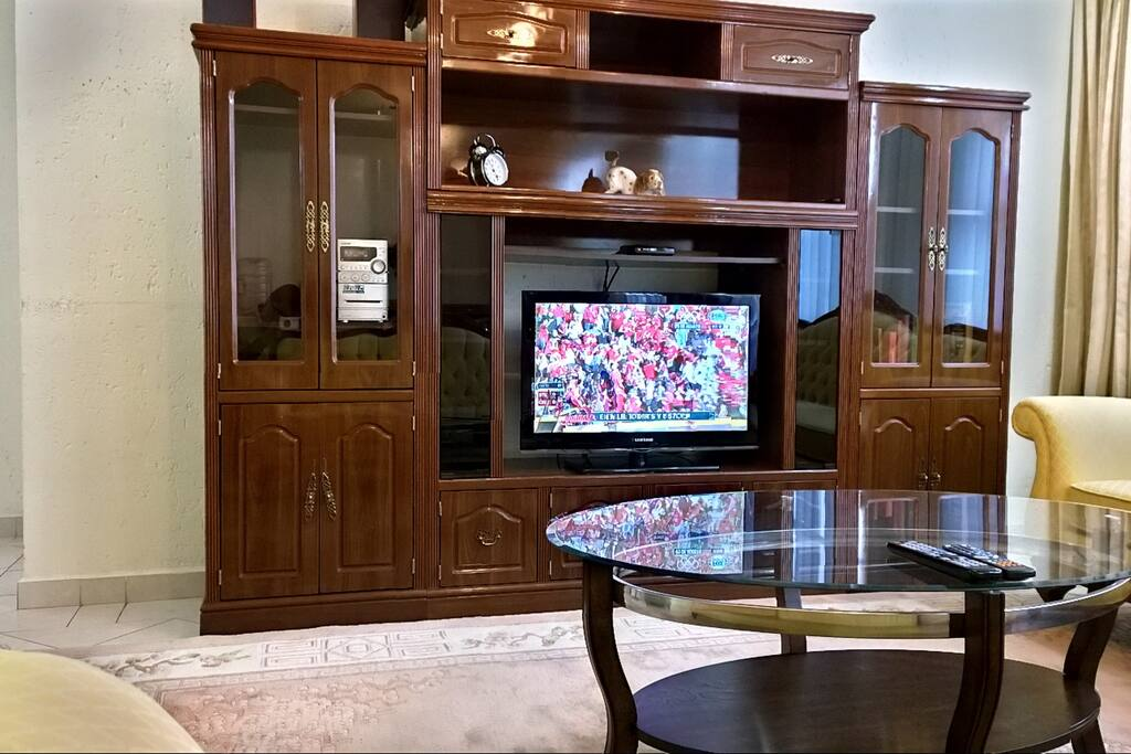 Cable TV and Sound System in Living Room