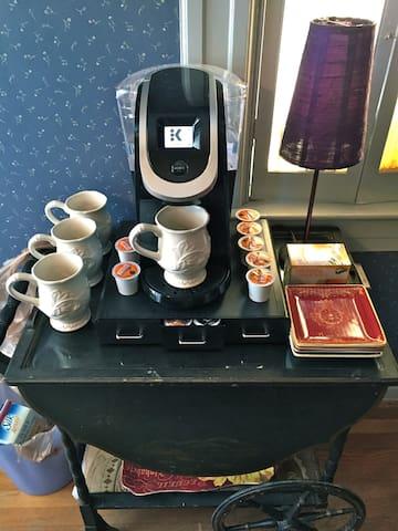 We keep the Parisian Cafe-style coffee/tea bar well stocked.