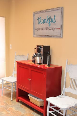 Coffee bar. I have a coffee pot with a whole bean grinder so feel free to bring your favorite whole bean coffee.